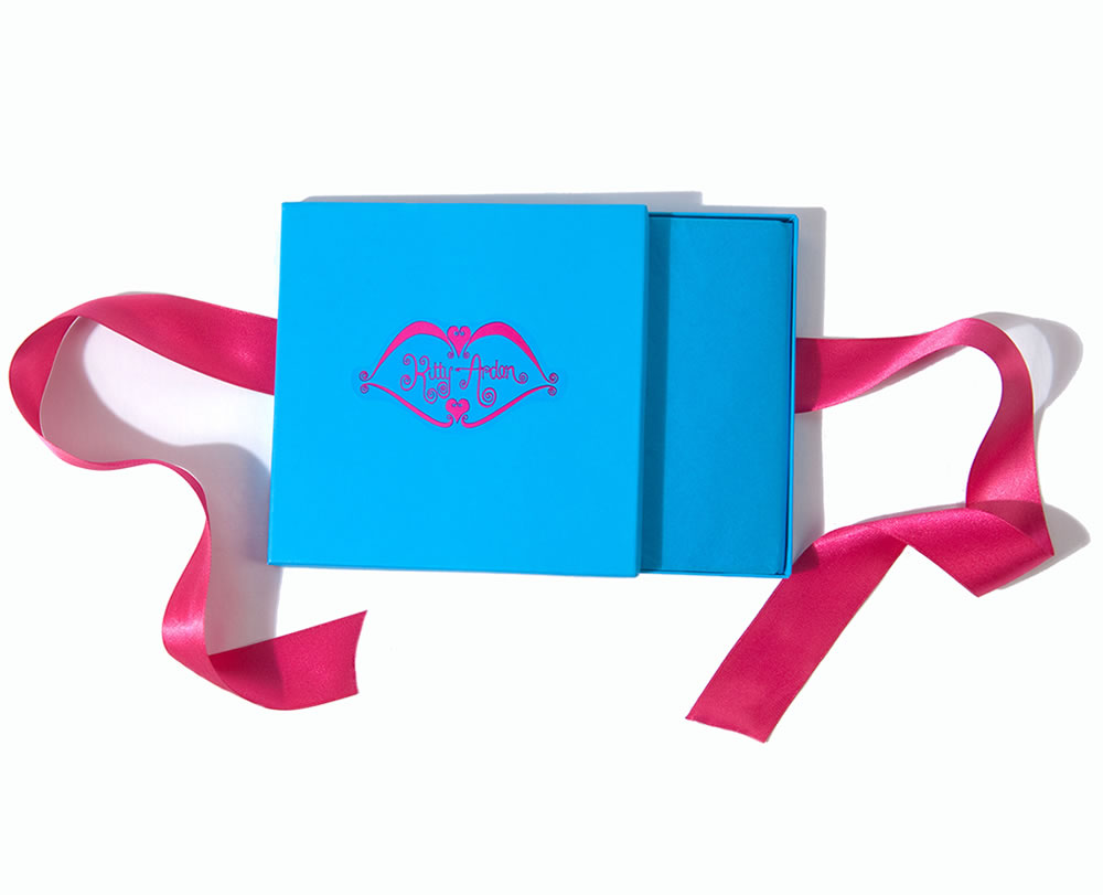 Blue Gift Box with Pink Ribbons