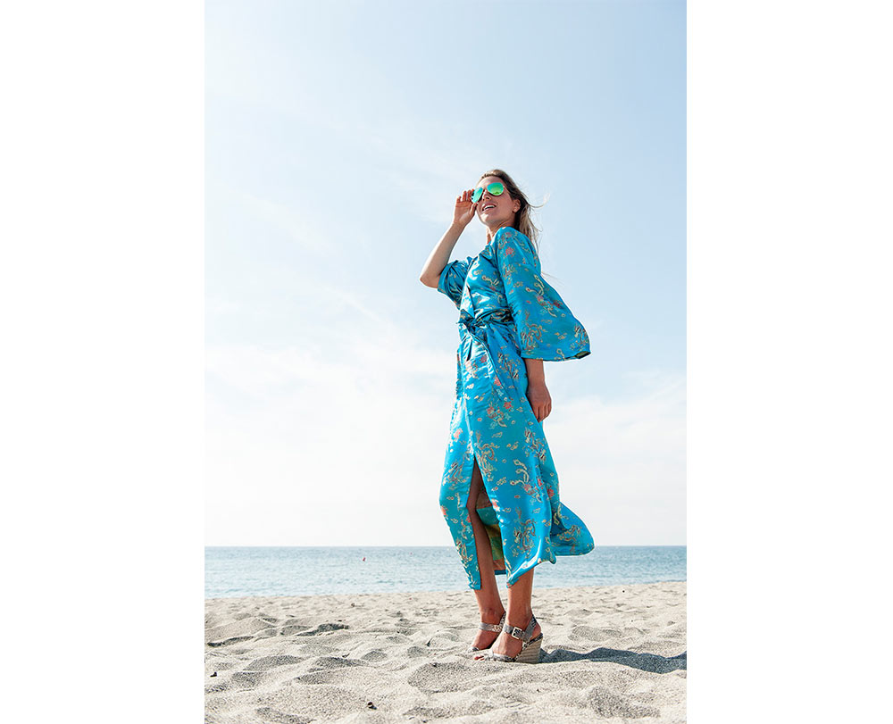 Turquoise Paradise Non-Silk Gown